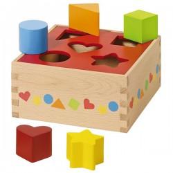 Boîte à formes géométriques, 5 pièces en bois