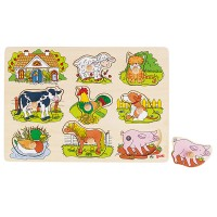 Puzzle à encastrement sonore, animaux de la ferme, 8 pièces