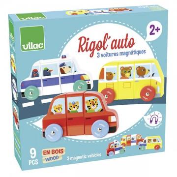 Voitures magnétiques en bois - Rigol'auto 9 pièces
