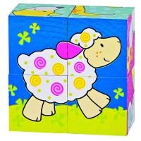 Puzzle de cubes, mes amis, 4 cubes