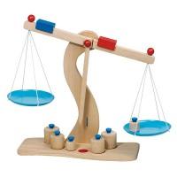 Balance en bois avec plateau en métal 6 poids