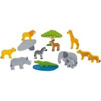 Animaux d'Afrique,14 pièces en bois