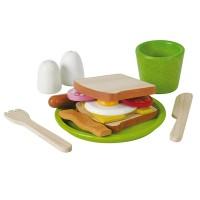 Assiette petit déjeuner en bois