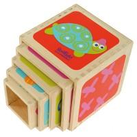 Jouet pyramide 5 cubes bois