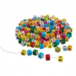 Cubes de lettres colorés à enfiler 325 cubes