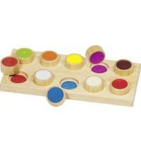 Mémo tactile des surfaces 11 pièces en bois