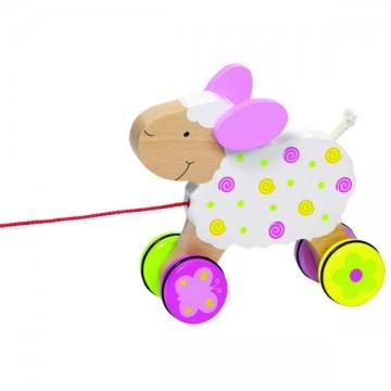 Jouet bébé Mouton à tirer en bois
