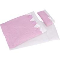 Linge de lit pour poupée rayé rose 3 pièces