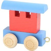 Train de lettres wagon rouge et bleu