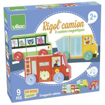 Camions magnétiques en bois - Rigol'camion 9 pièces
