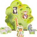 Arbre à formes Jungle, 7 pièces en bois
