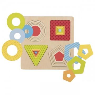 Puzzle à 4 couches, formes géométriques, 16 psc