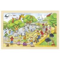 Puzzle - Une journéee au zoo, 24 psc en bois