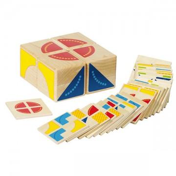 Jeu de puzzle kubus avec 4 cubes et 26 plaques en bois